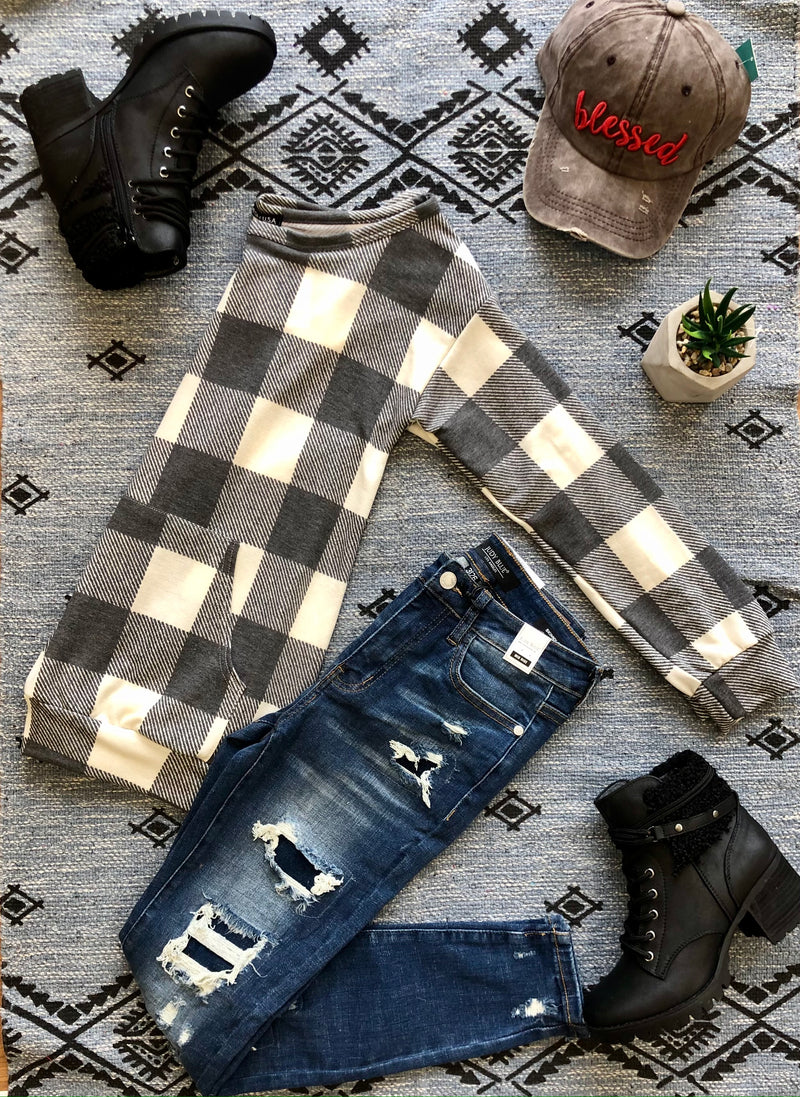 #F61 Marshmallow Plaid Top