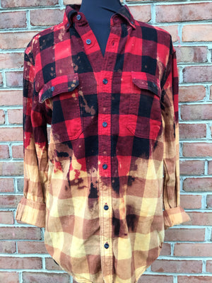 #416 One of a Kind Flannel Tops (Red & Mustard Ombre)