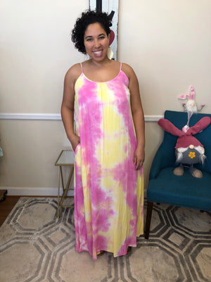 #H918 Love And Peace Tie Dye Maxi Dress (Pink)