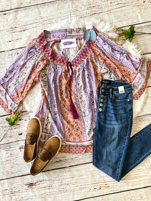 #180 Lavender Cold Shoulder Paisley Blouse- FINAL SALE