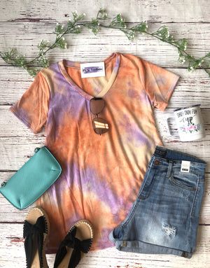 #A124 Rise and Shine Tie Dye V Neck