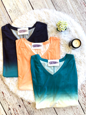#300 Nikki's faded short sleeve top (FINAL SALE)