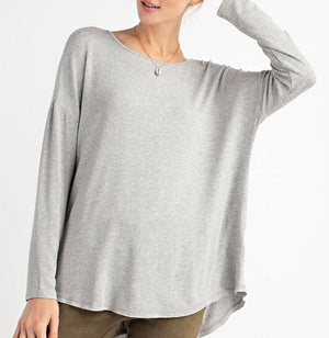 #872 Basic Chick Top (Heather Grey) FINAL SALE