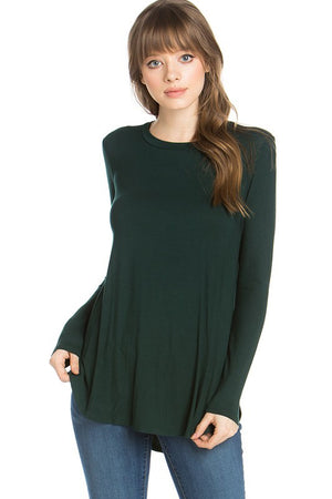#878 Comfy Casual long sleeve (hunter green) FINAL SALE