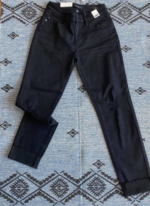 #D99 Lucia's Black Distressed Judy Blue Jeans