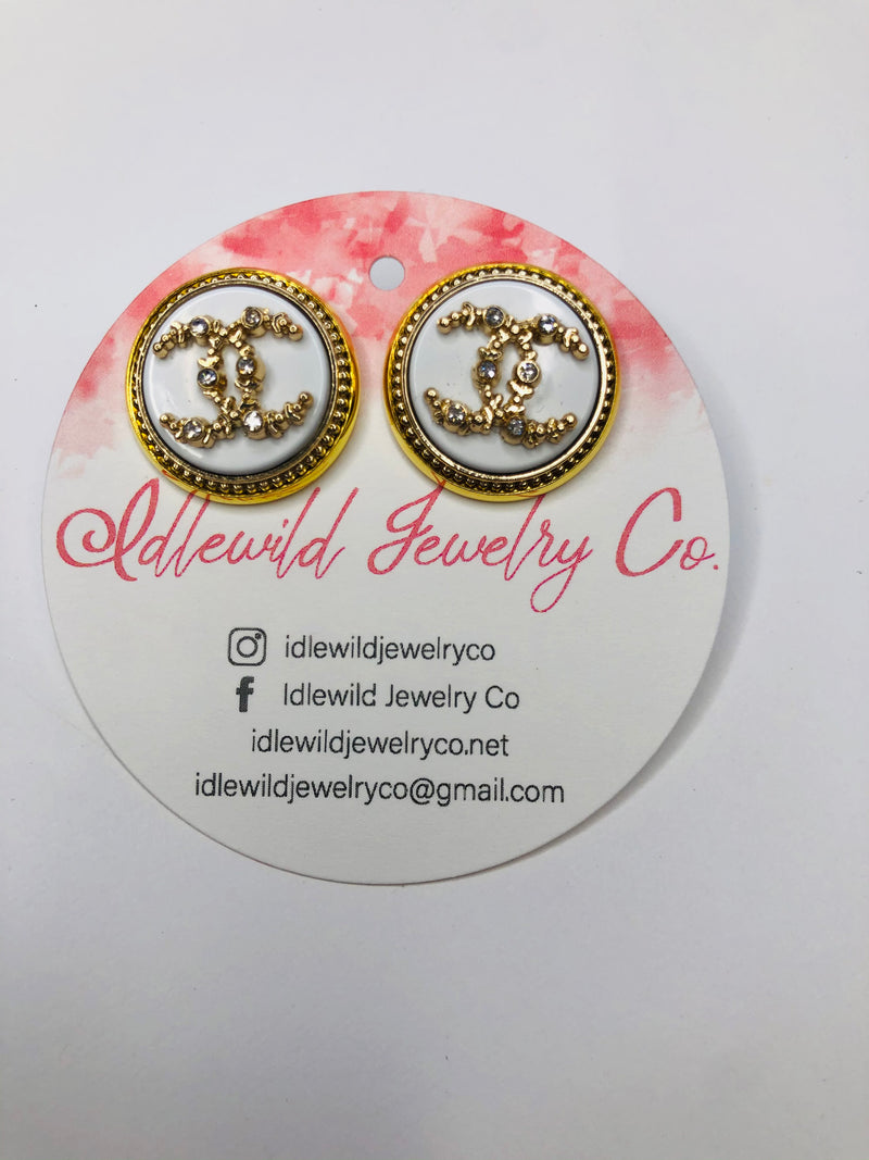 #J108 Whitney Vintage CC Post Earrings