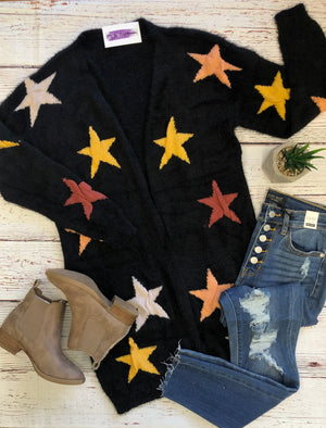 #909 Star of the show cardigan (black)