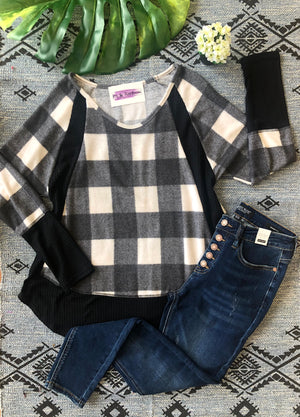 #F33 Wrap Me Up in Plaid Tunic