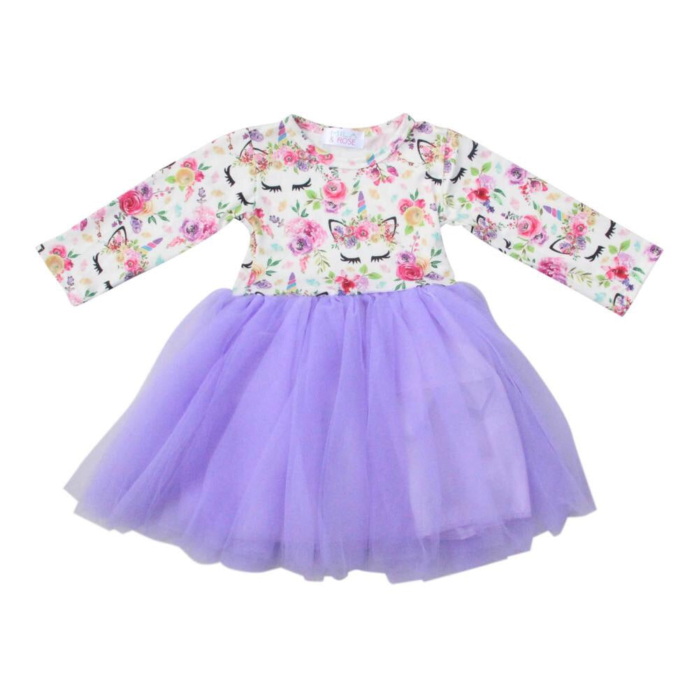 #244 Floral unicorn tutu dress