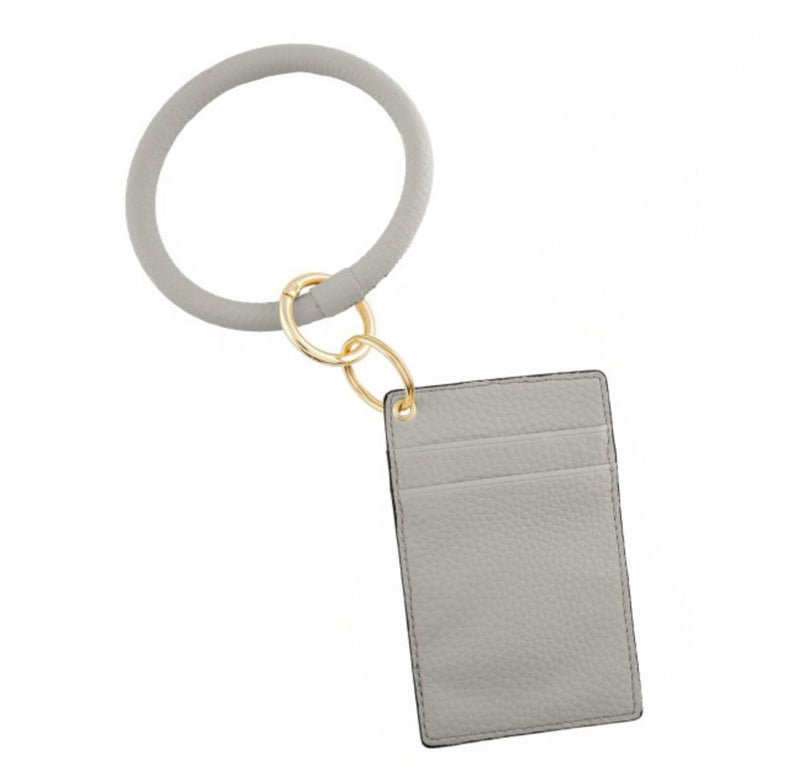 #103 Faux leather card keyring holder