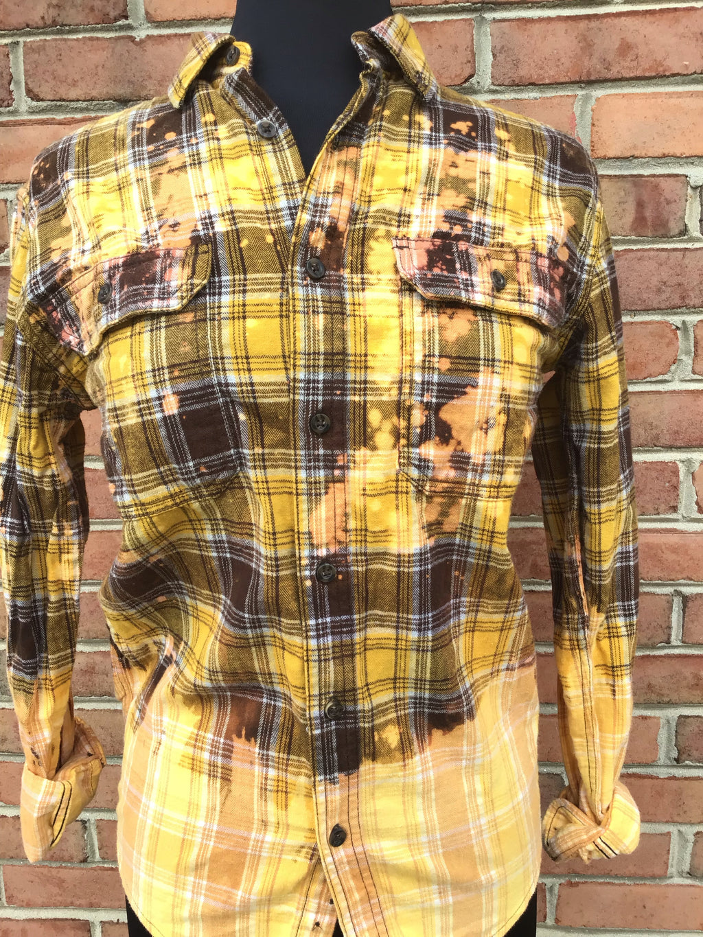 #417 One of a Kind Flannel Tops (Mustard & Brown Ombre)