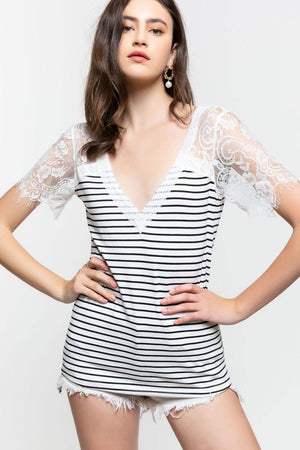 #206 Forever favorite stripe lace top