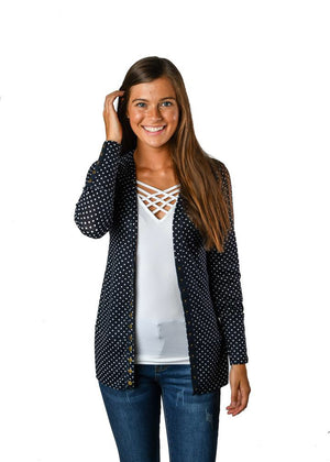 #444 Polka dot snap cardigan