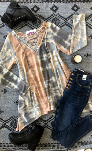 #F32 Lace Me Up Tie Dye Sharkbite Tunic