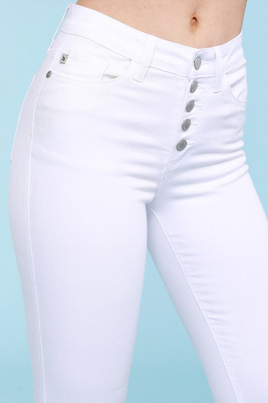 #365 Kate's white button fly skinny jeans