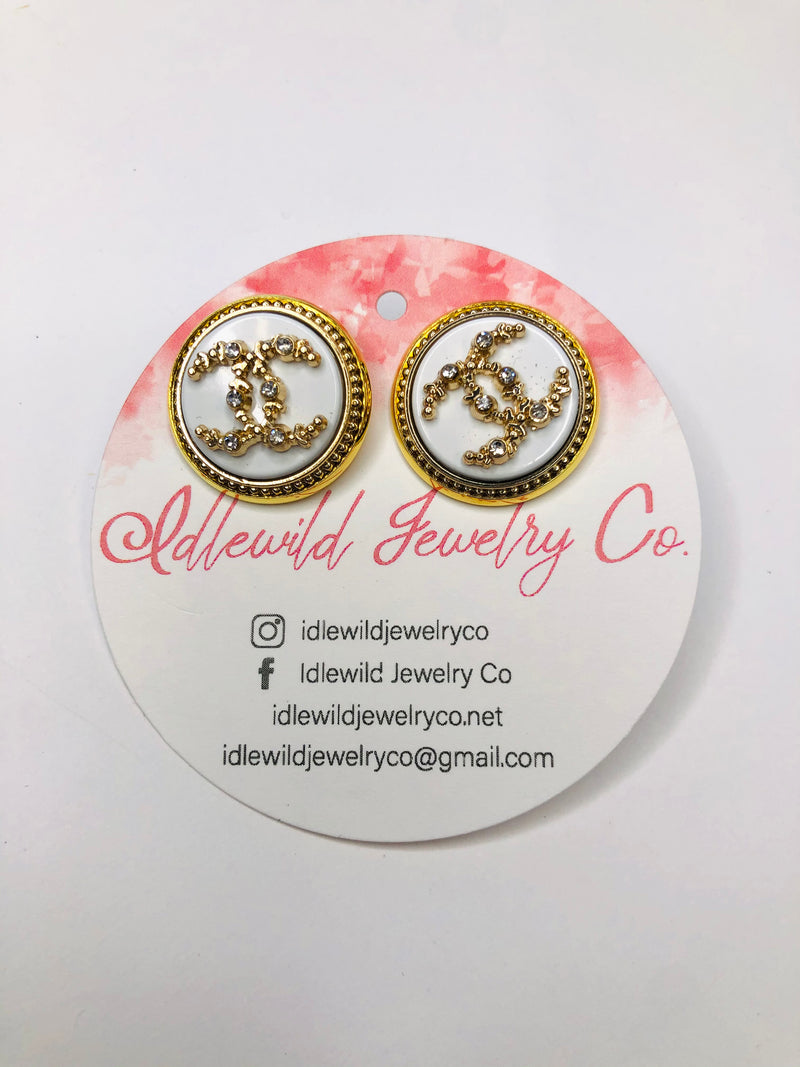 #J99 Missy Vintage CC Post Earrings