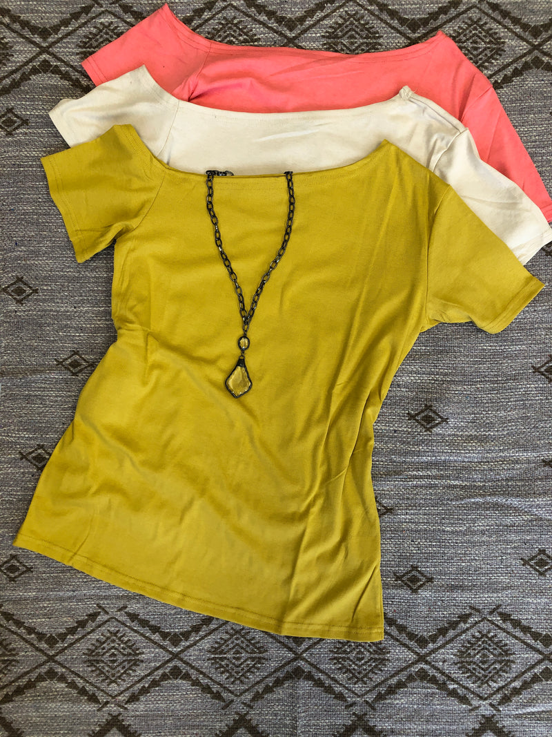 #456 Tilt It Girl Cold Shoulder Top (Mustard)