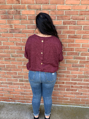 #F20 Burgundy Love Button Back Top