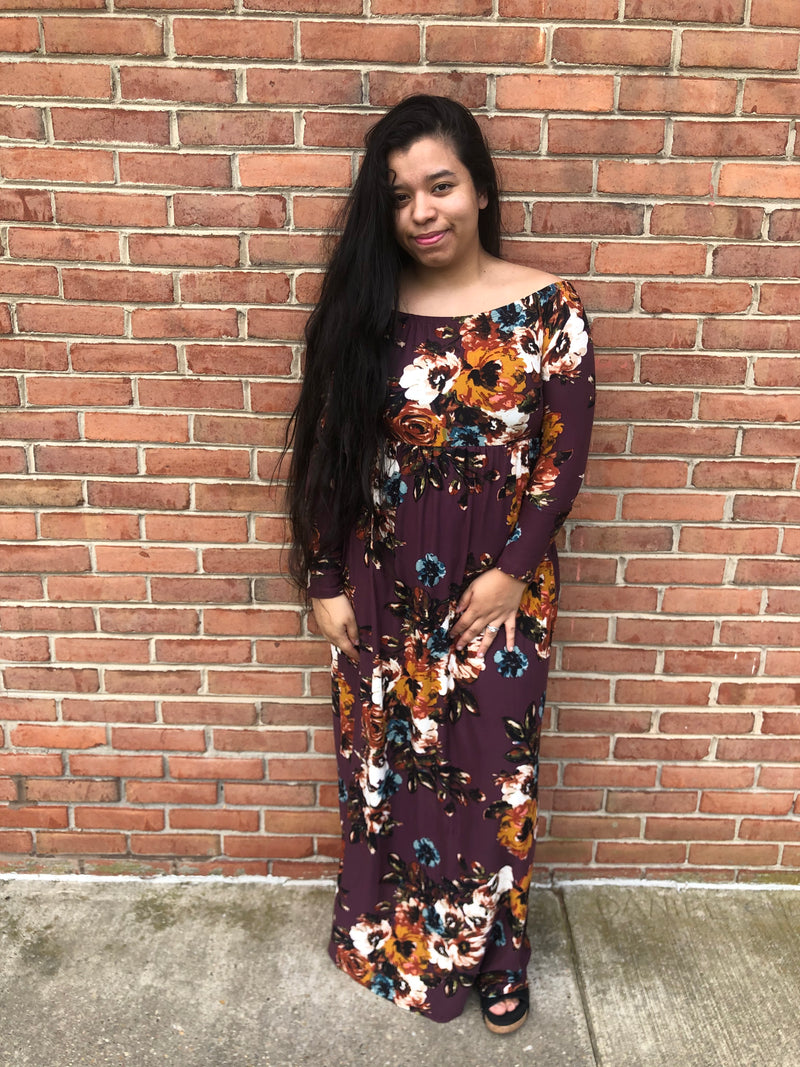 #C56 Fall With Me Floral Maxi Dress