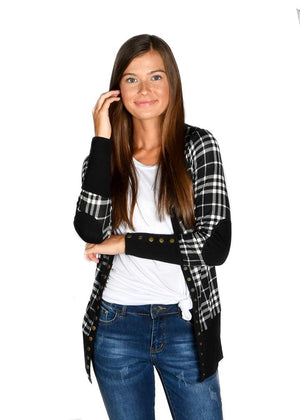 #E95 Black plaid snap cardigan