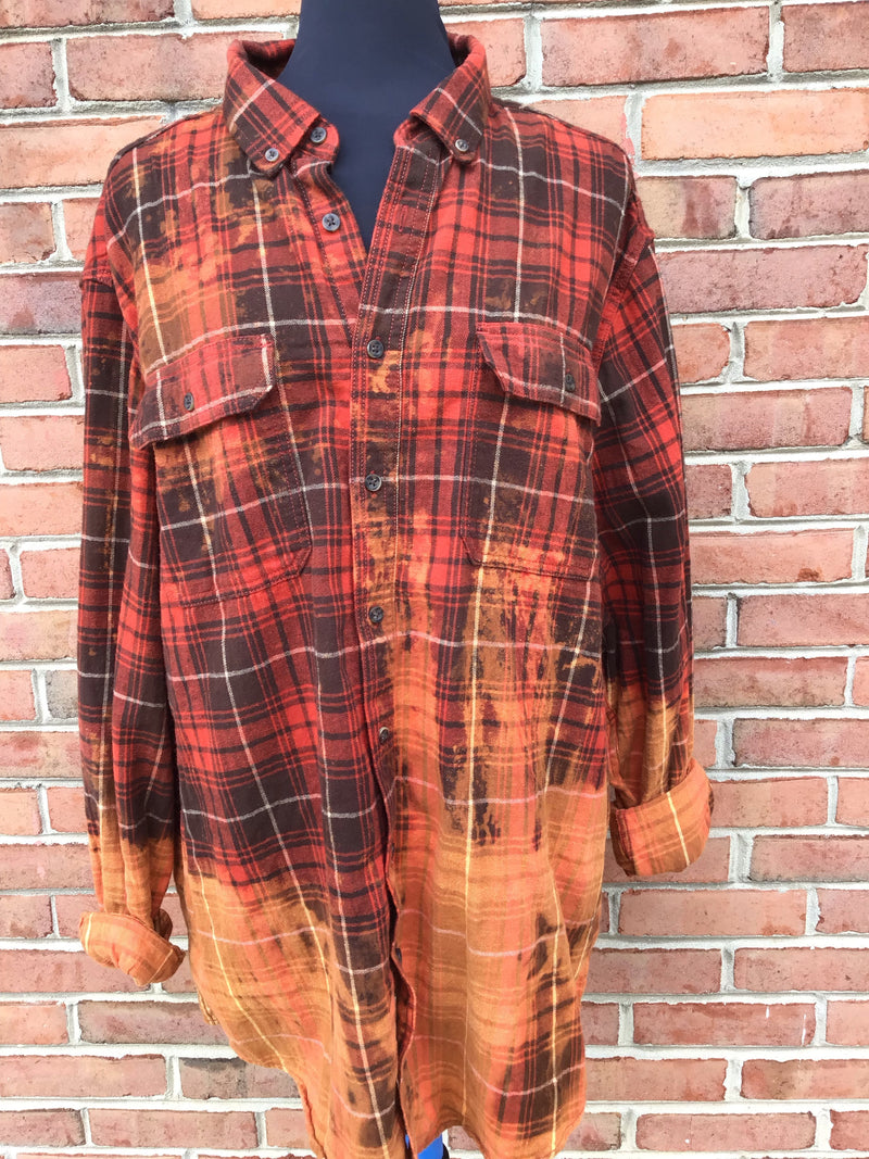 #427 One of A Kind Flannel Tops (Orange and Brown Ombre)