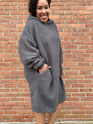 #H155 Reversible Fuzzy Blanket Dress