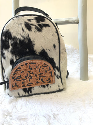 #711 Cow fur backpack with floral leather