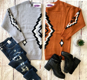 #F35 Aztec Adventures Sweater (Rust)