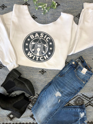 #D119 Basic Witch Off The Shoulder Sweatshirt
