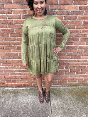 #H128 Olive Tie Dye Peplum Dress