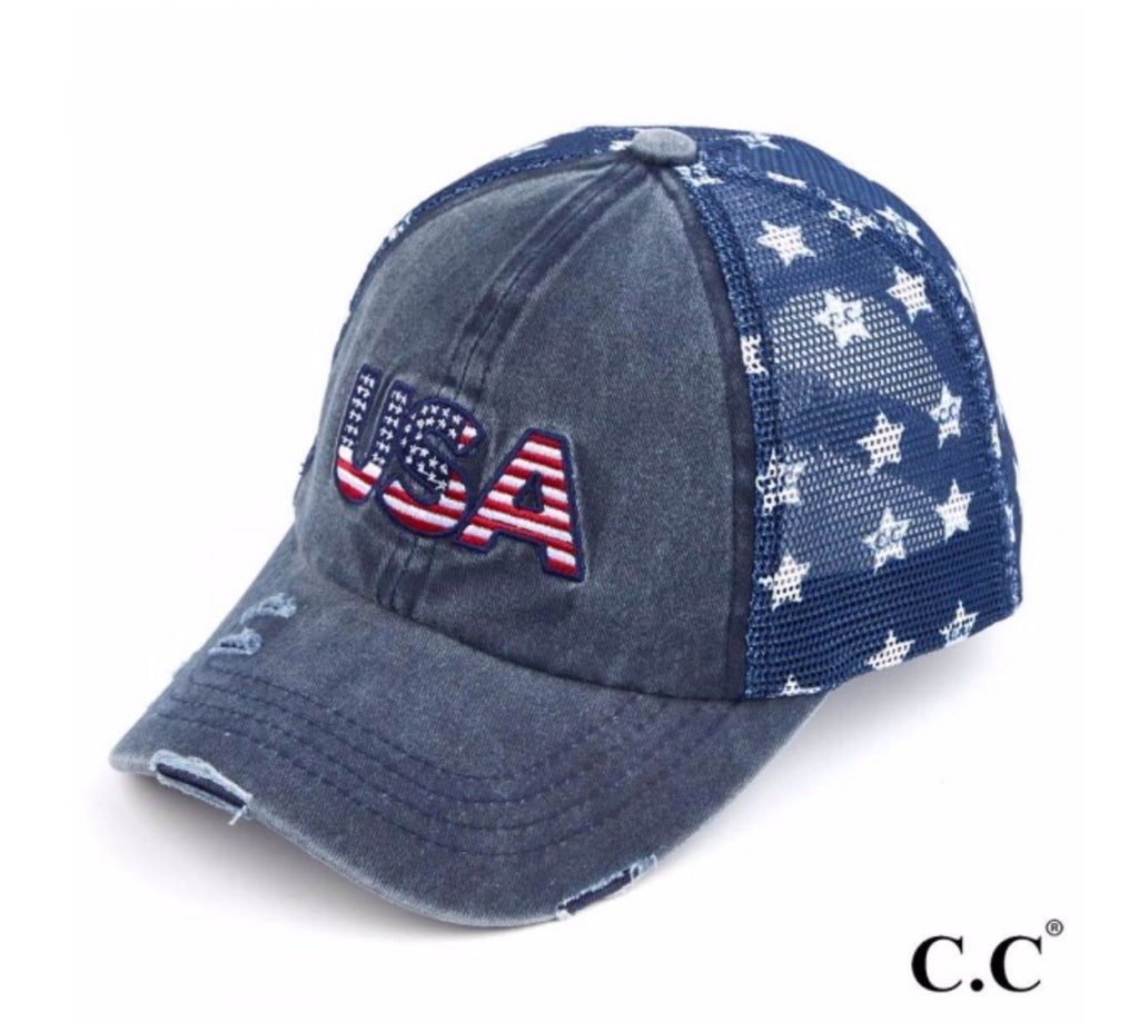 #A51 USA distressed vintage baseball cap