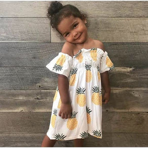 Sweet pineapple off the shoulder dress
