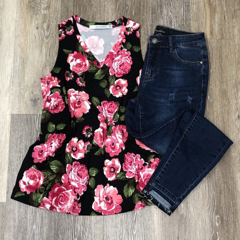 #425 V-Neck Tank Black with Hot Pink Floral (FINAL SALE)