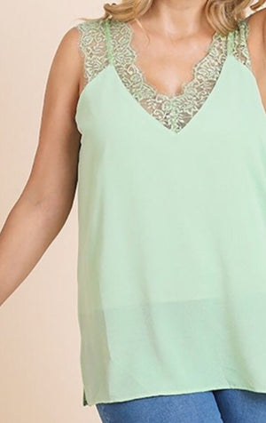 #208 Spring mint lace cami (FINAL SALE)