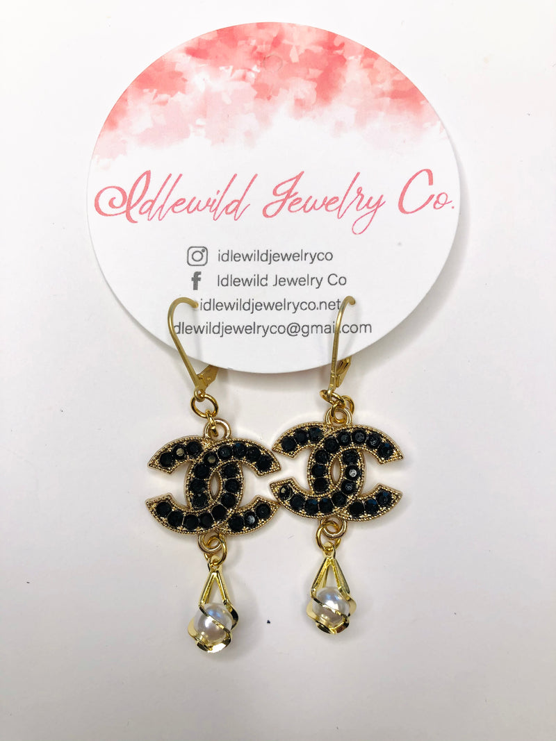 #J89 Delila Vintage CC Dangle Earrings