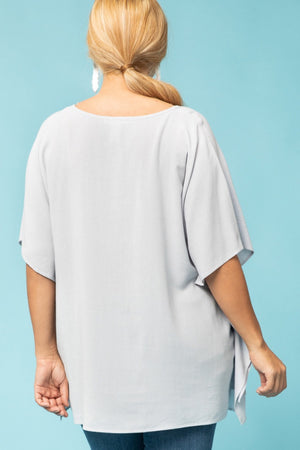 #433 Light Linen Top - Icy Blue (FINAL SALE)
