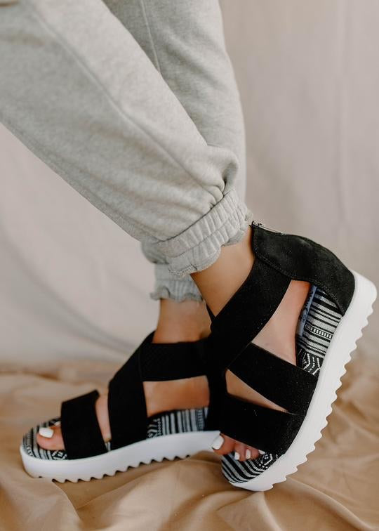 #J244 Stroke Of Midnight Wedge Sandals