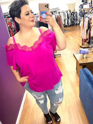 #407 Onto Something cold-shoulder top