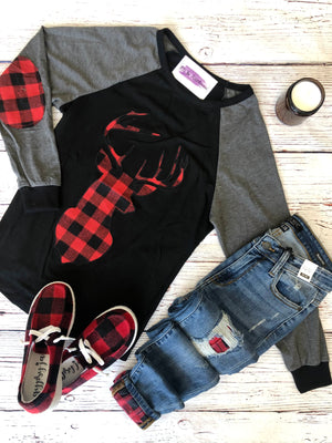 #F5 Deer In Plaid Top