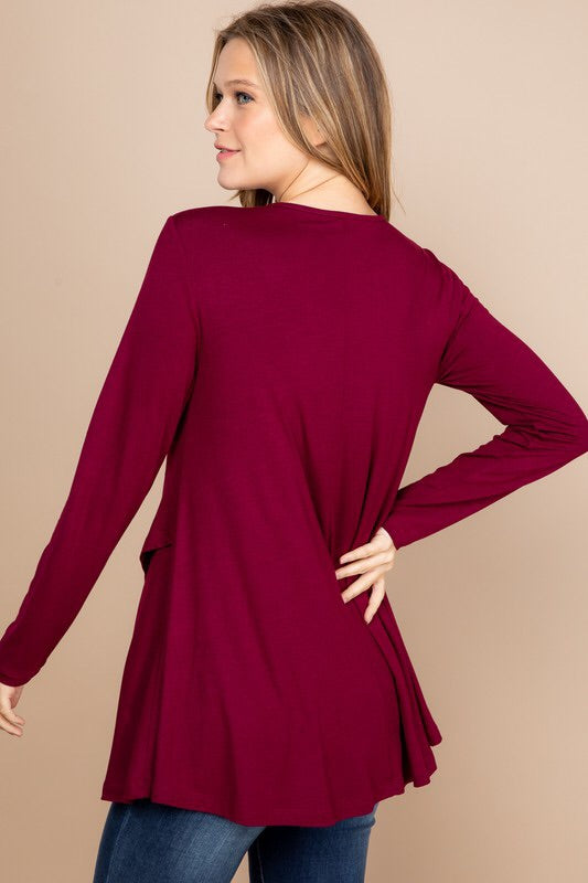 #464 Strolling downtown top (burgundy)