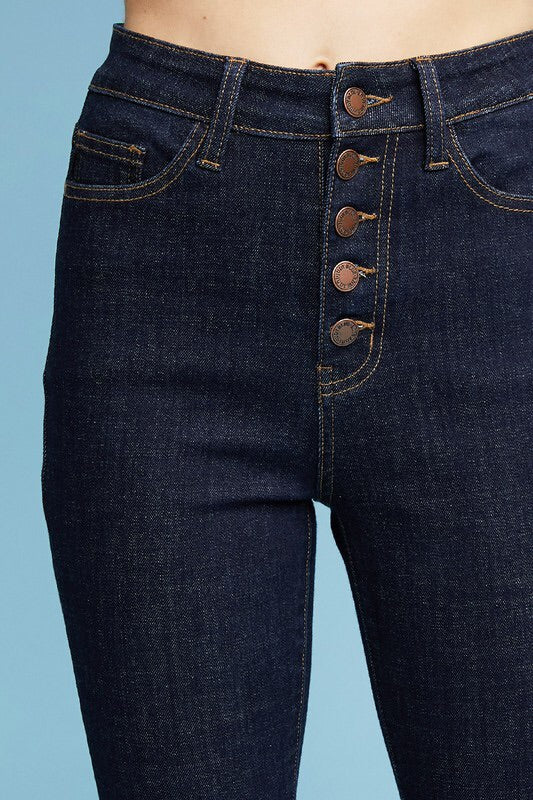 Button Fly Skinny Jeans  (Dark Wash)