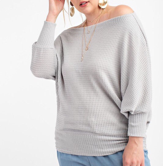 Day to day off the shoulder top (lilac grey)