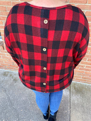 #D104 Cabin Fever Button Back Red Buffalo Check Top