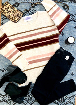 #D59 Sparkle & Striped Sweater