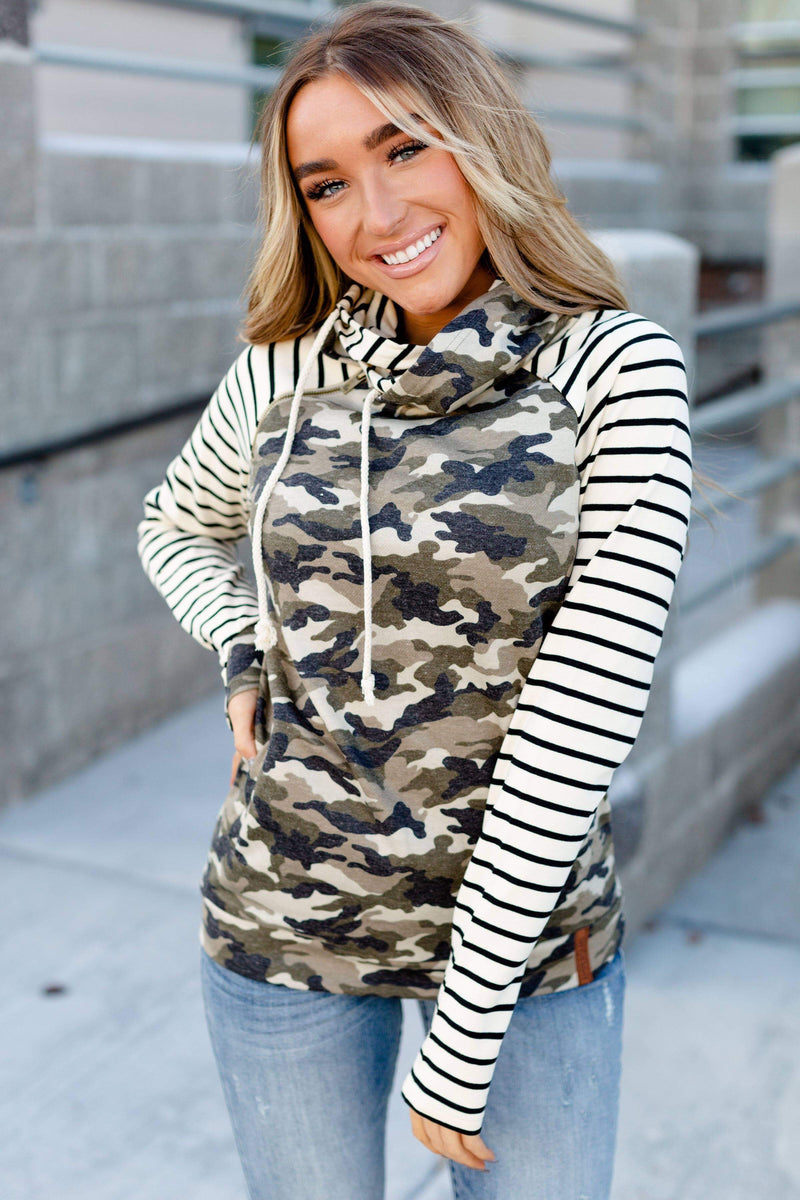 #C197 Ampersand camo & stripes double-hood sweatshirt