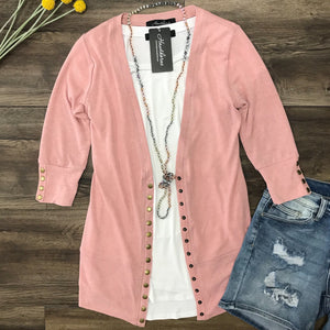 #450 3/4 Blush Snap Cardigan