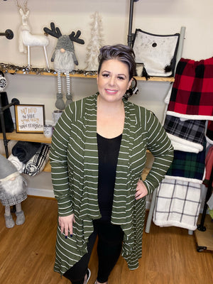 #940 Olive striped open cardigan
