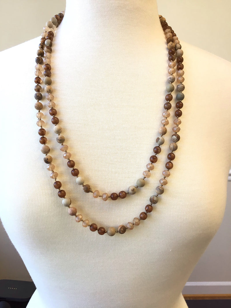 Natural Layering Beaded Necklace