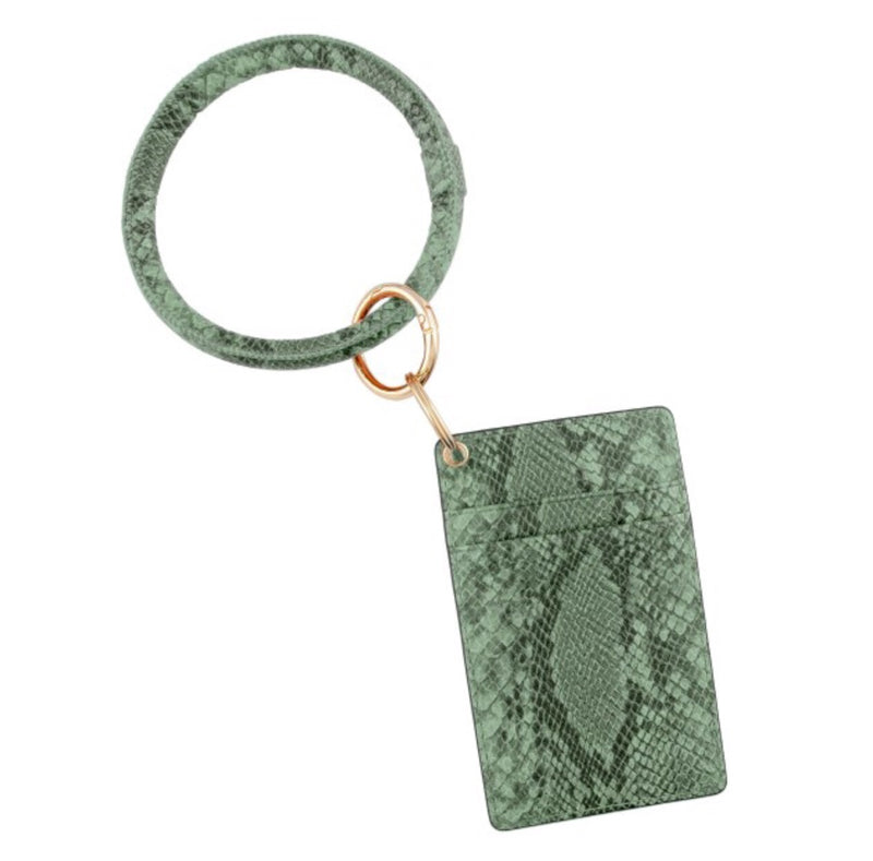 #104 Faux leather snakeskin card keyring holder