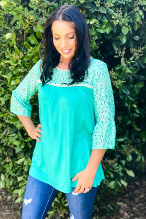 Pearls and Lace 3/4 Sleeve Top